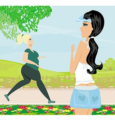 woman wants to lose weight vector image vector image