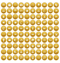 100 ocean icons set gold vector