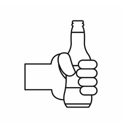 Hand holding a beer bottle icon outline style vector