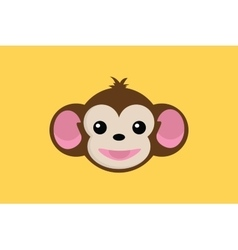 Monkey smile close up face with yellow background vector