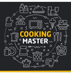 Lines icons circle cooking master vector
