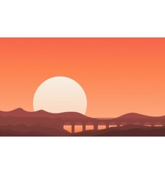 Silhouette of bridge on montain backgrounds vector