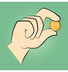 Hand holding a coin between two fingers vector