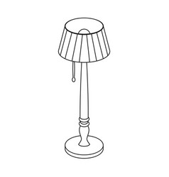Wooden floor lamp icon in outline style isolated vector