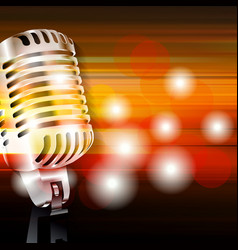 Abstract grunge background with retro microphone vector