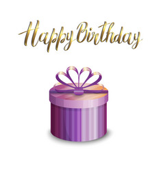 A gift box and inscription happy birthday vector