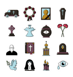 Funeral ritual service icons set cartoon style vector