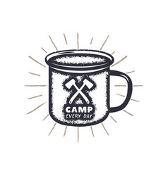Hand drawn camping mug shape sunbursts label with vector