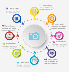 Infographic template with camera icons vector