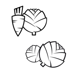 Carrotscabbage and artichokes vector
