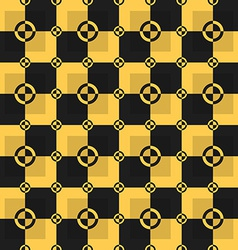 Circle-squares pattern in black and yellow colors vector