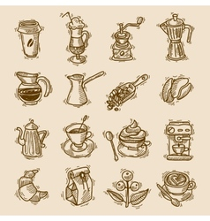 Coffee sketch icons set vector