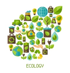 Ecology background with environment icons vector