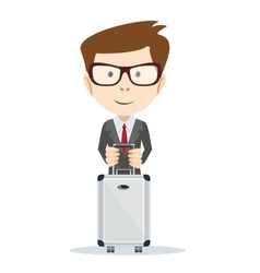Office worker with a bag for travel vector