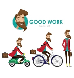 Hipster man on scooter vector