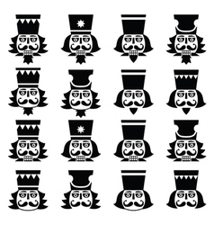 Christmas nutcracker - soldier figurine head black vector