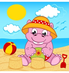 Hippo girl on beach vector