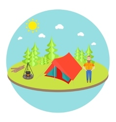 Outdoor landscape background with camp tent vector image