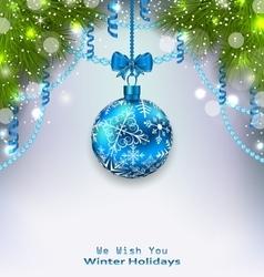 Christmas glass ball fir branches streamer vector