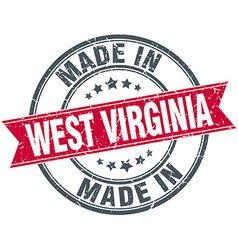 Made in west virginia red round vintage stamp vector