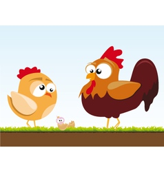 a chicken and a rooster vector image vector image