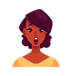 African girl face surprised facial expression vector