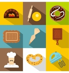 Bakery icons set flat style vector