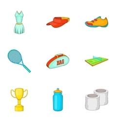 Big tennis icons set cartoon style vector