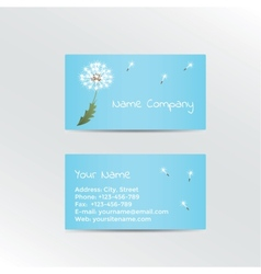 Business card with dandelion on blue background vector image vector image