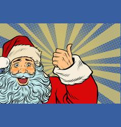closeup of santa claus thumbs up vector image