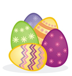Colorful easter eggs icon composition isolated vector image