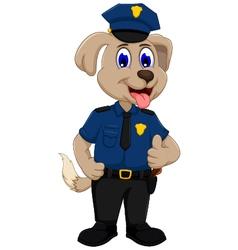 Cute police dog cartoon thumb up vector