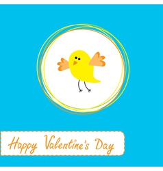 Cute yellow bird happy valentines day vector