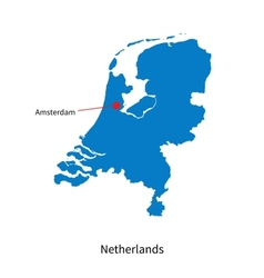 Detailed map of Netherlands and capital city vector image vector image