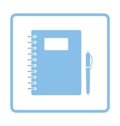 Exercise book with pen icon vector