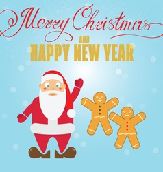 Gingerbread cookies and santa claus christmas gree vector