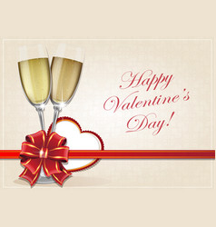 Glasses of champagne and valentine heart vector
