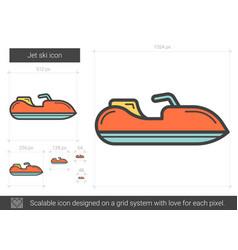 Jet ski line icon vector