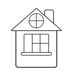Line house with roof and window vector