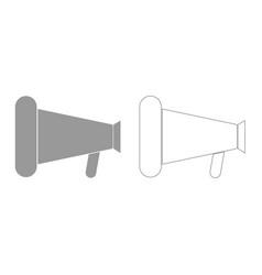 Loud speaker or megaphone grey set icon vector