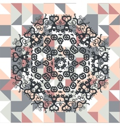 Mandala over square triangles background vector image vector image