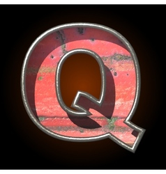 Old metal letter q vector