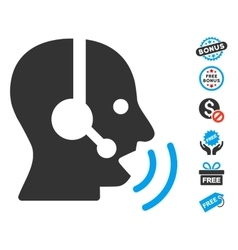 Operator speech sound waves icon with free bonus vector