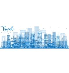 Outline tripoli skyline with blue buildings vector