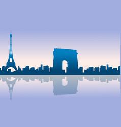 paris city skyline silhouettes background vector image