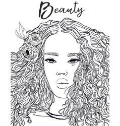 Portrait of beautiful black woman vector