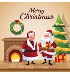 Santa and wife cartoon of christmas season vector