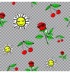 seamless sticker pattern with cherries sun vector image vector image
