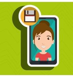 Smartphone person tecnology floopy vector