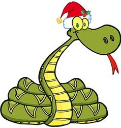 Snake with santa hat vector